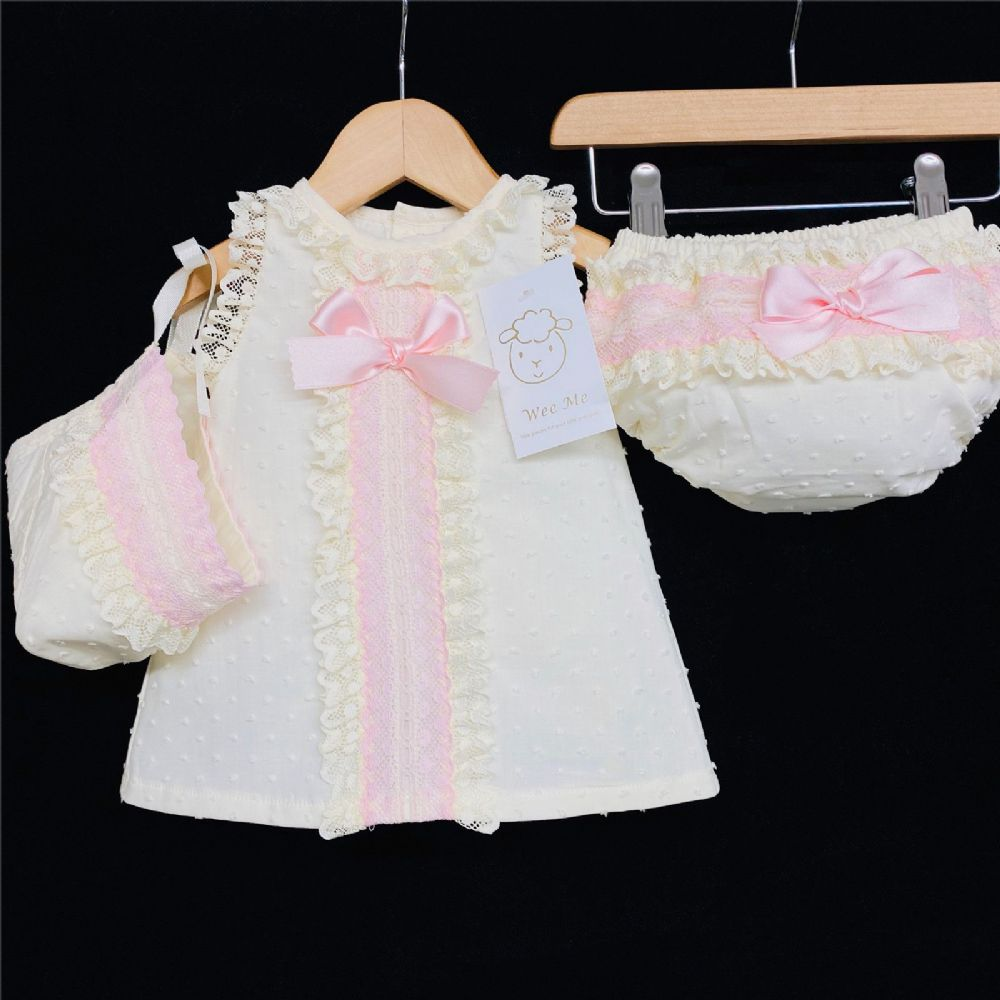 *Baby Girl Spanish Cream A Line Lace Dress Pink Detail 3 Piece